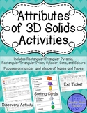 Attributes of 3D Solids Activities (notebook discovery, sorting, & exit ticket)