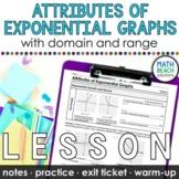 Attributes of Exponential Graphs Lesson (Algebra 1)