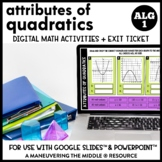 Attributes of Quadratics Digital Math Activity