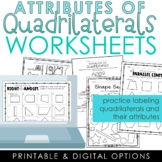 Attributes of Quadrilaterals Worksheets
