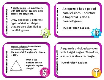 Attributes of Shapes Task Cards