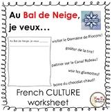 Au Bal de Neige.... (Grade 4 Core French CULTURE worksheet)