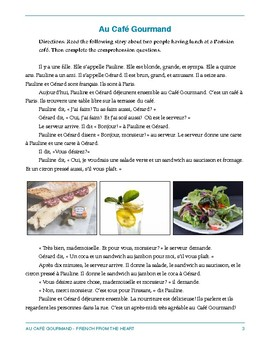 Au Café Gourmand: A comprehensible input-based story for novice French learners
