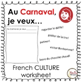 Au Carnaval.... (Grade 5 Core French CULTURE worksheet)