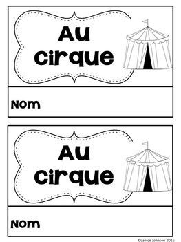 Au Cirque ~ French Circus Animal Reader {en français}