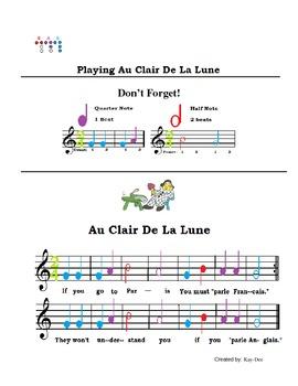 Au Clair De La Lune Song Sheet