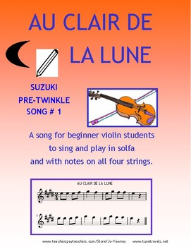 Au Clair de la Lune for beginning violin