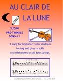 Au Clair de la Lune for beginning violin