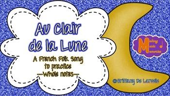Au Clair de la Lune - French Folk Song - Whole Note (Engli