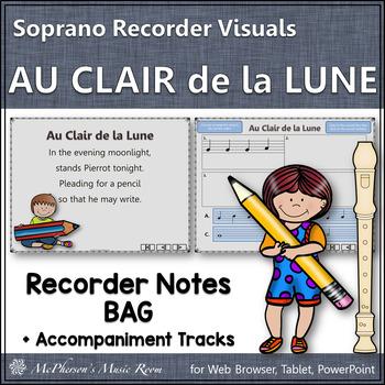 Au Clair de la Lune - Soprano Recorder Visuals Notes BAG
