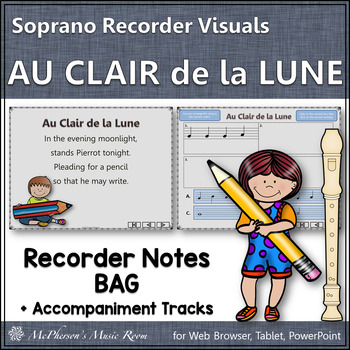 Au Clair de la Lune - Soprano Recorder Visuals Notes BAG