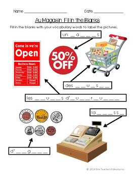 Au Magasin - Beginner French Shopping Unit (Grades 4-7)