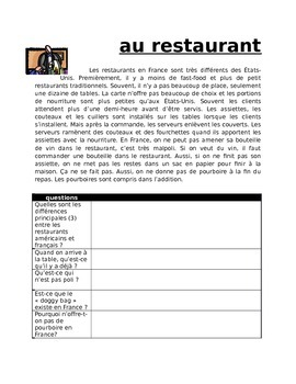 Au Restaurant FRENCH Reading about restaurant dining