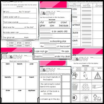 Au and Aw Worksheets: Cut and Paste Sorts, Cloze, Read and Draw and more!