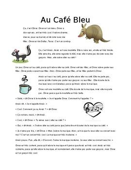 Au cafe bleu:  Reading Activity (Bien Dit 1 Ch 2)