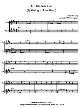 Au clair de la lune for Flute & Violin Duet, Easy Sheet Music for Beginners.