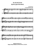 Au clair de la lune for Flute & Violin Duet, Easy Sheet Mu