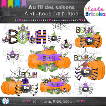 Au fil des saisons-Araignées farfelues/Halloween funny spiders clipart