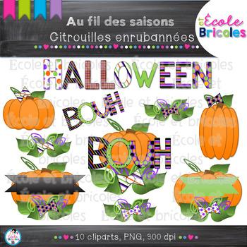 Au fil des saisons-Citrouilles enrubannées/Halloween pumpkin clipart