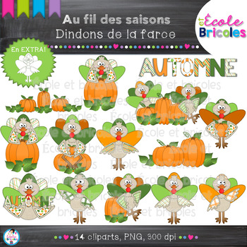 Au fil des saisons-Dindons de la farce/Thanksgiving Turkey cliparts