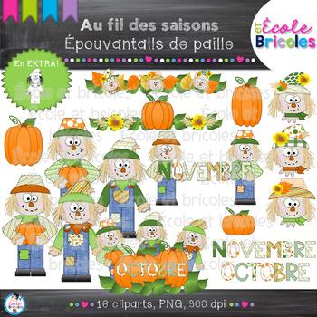 Au fil des saisons-Épouvantail en paille/Scarecrow cliparts