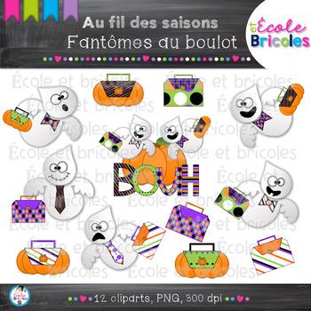 Au fil des saisons-Fantômes au boulot/Halloween working ghost clipart