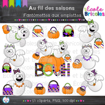 Au fil des saisons-Fantômettes aux emplettes/Halloween shopping ghost clipart