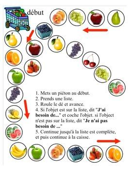 Au marché board game (les fruits)