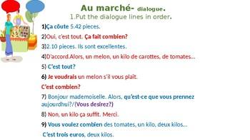 Au marché. At the market. Dialogue Activity