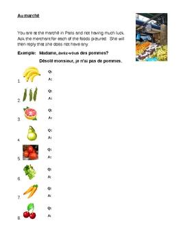 Au marché (French market) worksheet
