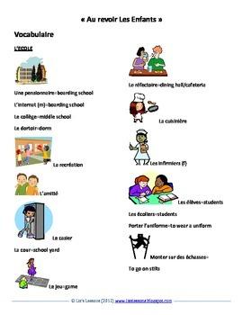 """""""Au revoir les enfants"""" Movie Vocabulary and Activities"""