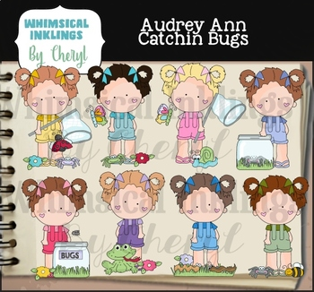 Aubrey Ann Catching Bugs Clipart Collection
