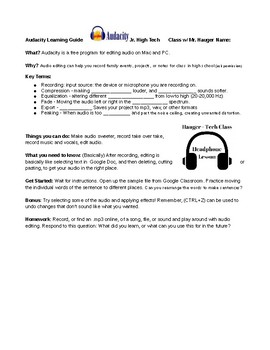 Audacity Recording Software Introductory Guide for Students Editing Audio