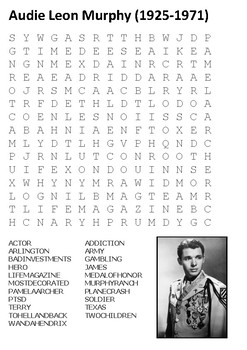 Audie Murphy Word Search