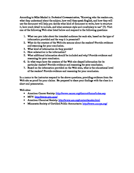 Audience Analysis of a Web Site --Technical Writing Assignment
