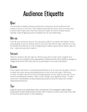 Audience Etiquette Handout
