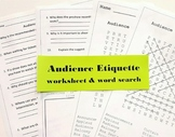 Audience Etiquette Worksheet and Word Search