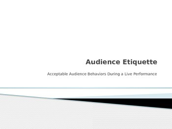 Audience Etiquette at a Play