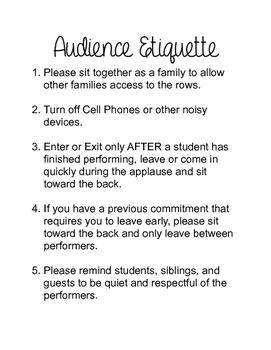 Audience Etiquette for Studio Recital or School Performance