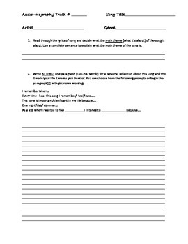 Audio-Biography Reflective Writing Assignment