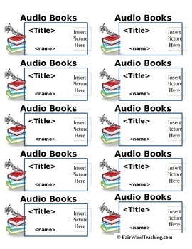 Audio/Listening Center Book Labels (Editable)
