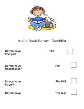 Audio Book Return Checklist