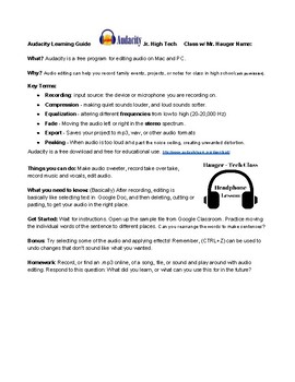 Audio Editing Lesson Plan for Middle School Students, Two Class Plans
