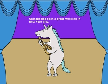 Audio Picture Book PowerPoint UNICA UNICORN LOVES MUSIC (Family comes first)