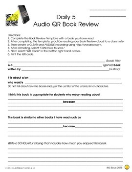 Audio QR Book Review: Daily 5 Activity