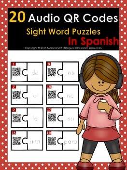 20 Audio QR Codes Sight  Word Puzzles in Spanish