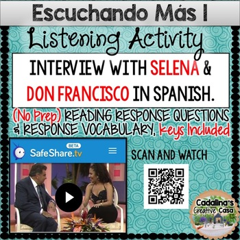AudioVideo Listening Activity Worksheets for Spanish Class + Response Questions