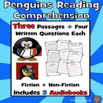 3 Penguins Paired Reading Comprehension Passages with Questions: Winter Reading