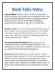 Audiobooks Reading Station Menu for centers, early finishers, assessment