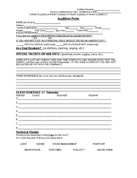 Audition Form - Theatre